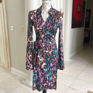 """""""Jeanne"""" Multicolored Wrap Dress"""